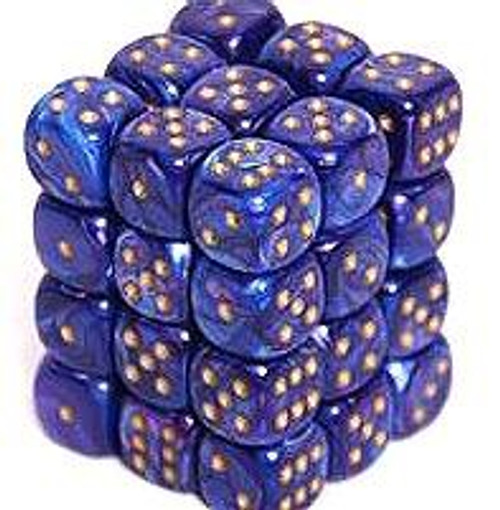 Chessex 6-Sided d6 Lustrous 12mm Dice Pack #27897 [Purple & Gold]