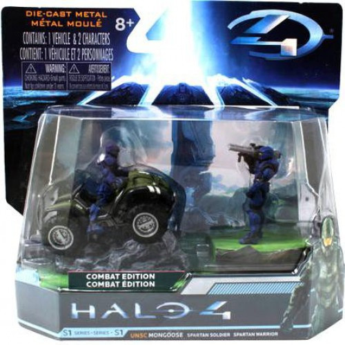 Halo 4 S-1 Series UNSC Mongoose with Blue Spartan Soldier & Warrior 3-Inch Diecast Set #96619 [Combat Edition]