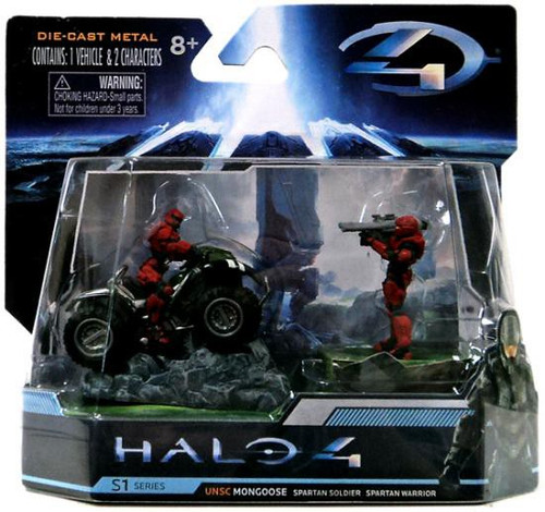 Halo 4 S-1 Series UNSC Mongoose with Red Spartan Soldier & Warrior 3-Inch Diecast Set #96527
