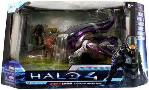 Halo 4 S-1 Series Covenant Banshee with Elite Zealot & Imperial Grunt 7-Inch Diecast Set #96530