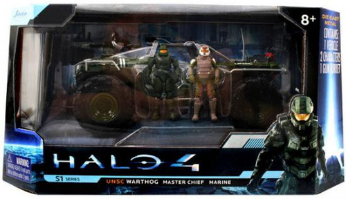 Halo 4 S-1 Series UNSC Warthog with Master Chief & Marine 7-Inch Diecast Set #96529 [Glossy Green]