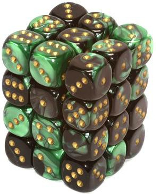 Chessex 6-Sided d6 Gemini 12mm Dice Pack #26839 [Green & Gold]