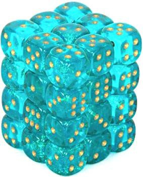 Chessex 6-Sided d6 Borealis 12mm Dice Pack #27886 [Teal & Gold]