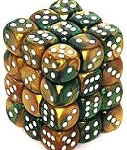 Chessex 6-Sided d6 Gemini 12mm Dice Pack #26825 [Gold-Green & White]