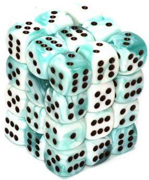 Chessex 6-Sided d6 Gemini 12mm Dice Pack #26844 [Teal-White & Black]