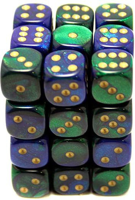 Chessex 6-Sided d6 Gemini 12mm Dice Pack #26836 [Blue-Green & Gold]