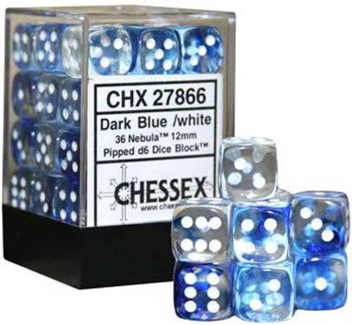Chessex 6-Sided d6 Nebula 12mm Dice Pack #27866 [Dark Blue & White]