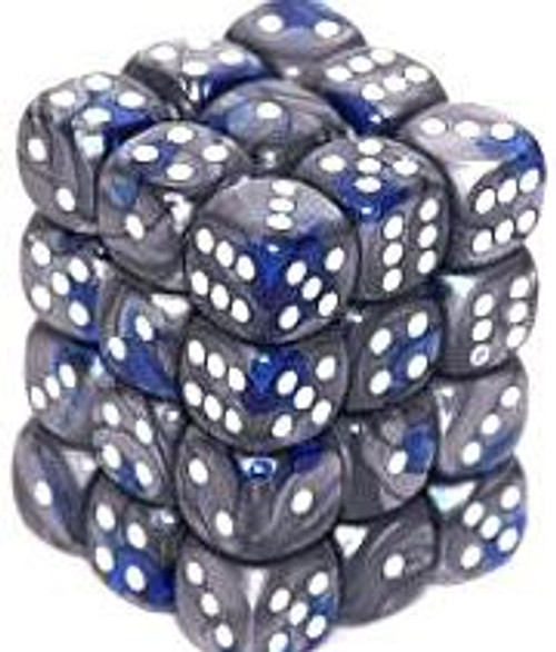 Chessex 6-Sided d6 Gemini 12mm Dice Pack #26823 [Blue-Steel & White]