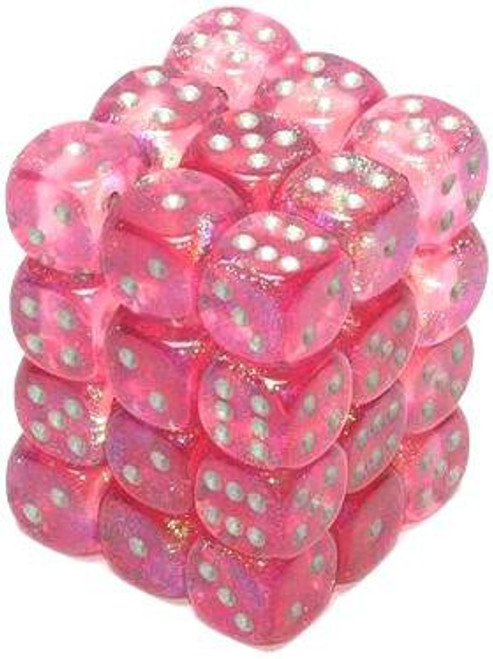 Chessex 6-Sided d6 Borealis 12mm Dice Pack #27804 [Pink & Silver]