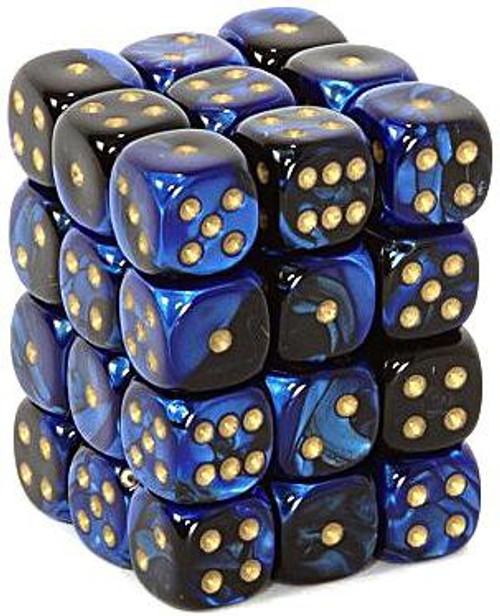 Chessex 6-Sided d6 Gemini 12mm Dice Pack #26835 [Black-Blue & Gold]