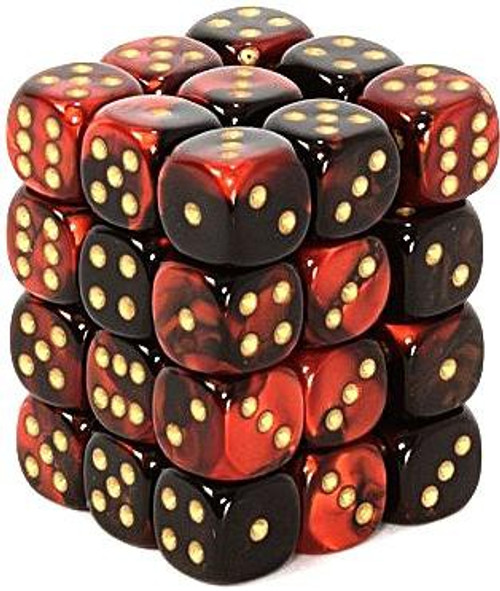 Chessex 6-Sided d6 Gemini 12mm Dice Pack #26833 [Black-Red & Gold]
