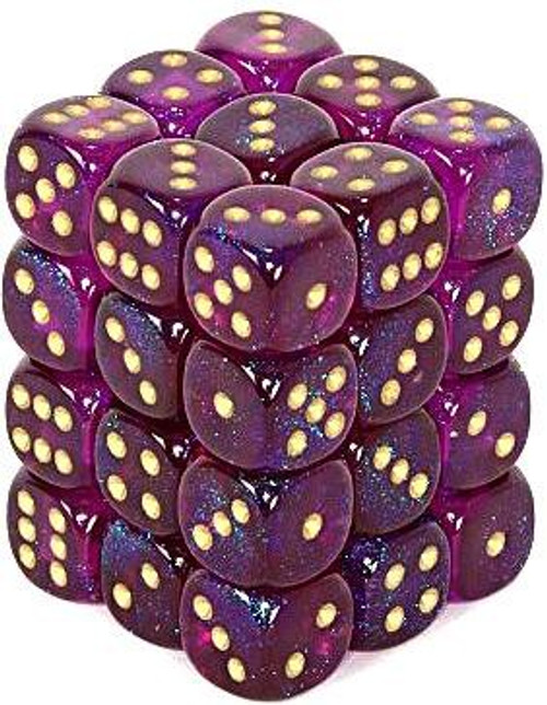 Chessex 6-Sided d6 Borealis 12mm Dice Pack #27867 [Royal Purple & Gold]