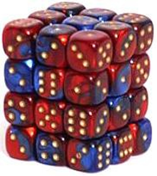 Chessex 6-Sided d6 Gemini 12mm Dice Pack #26829 [Blue-Red & Gold]