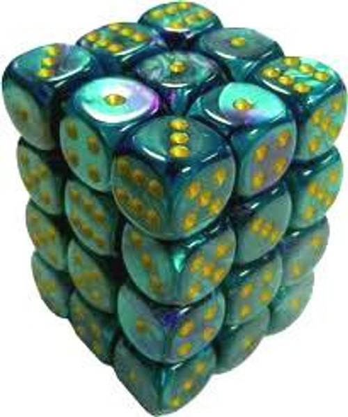 Chessex 6-Sided d6 Gemini 12mm Dice Pack #26849 [Purple-Teal & Gold]