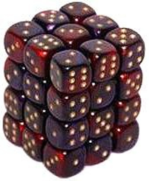 Chessex 6-Sided d6 Gemini 12mm Dice Pack #26826 [Purple-Red & Gold]