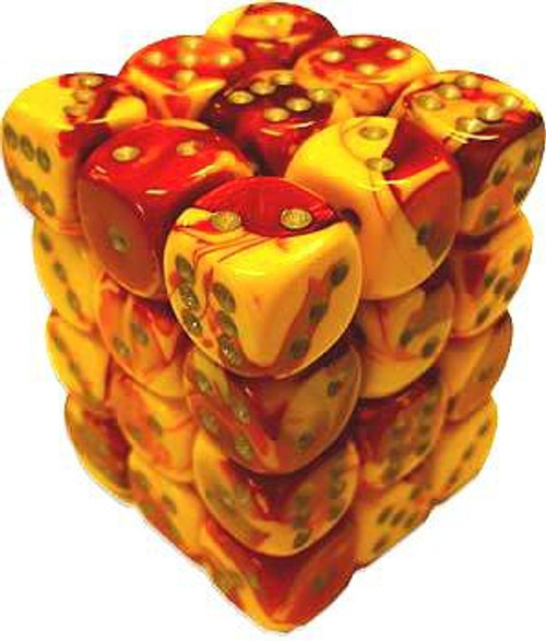 Chessex 6-Sided d6 Gemini 12mm Dice Pack #26850 [Red-Yellow & Silver]