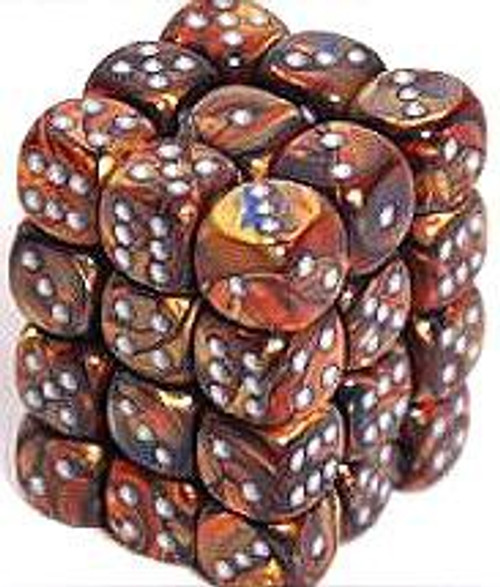 Chessex 6-Sided d6 Lustrous 12mm Dice Pack #27893 [Gold & Silver]