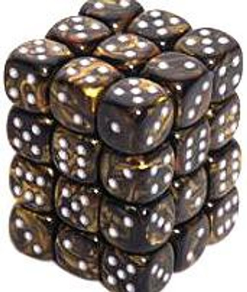 Chessex 6-Sided d6 Leaf 12mm Dice Pack #27818 [Black Gold & Silver]