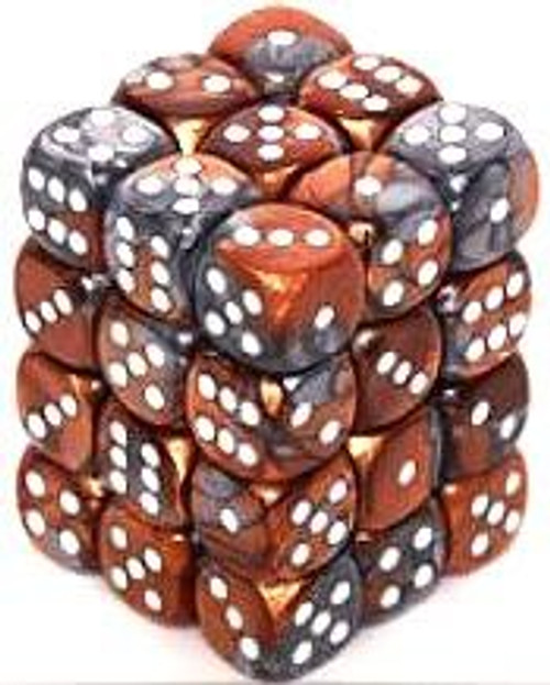 Chessex 6-Sided d6 Gemini 12mm Dice Pack #26824 [Copper-Steel & White]