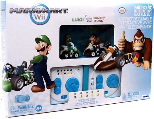 Super Mario Mario Kart Wii Micro PC Interactive Battle Set Luigi vs Donkey Kong Exclusive 2-Inch R/C Vehicles