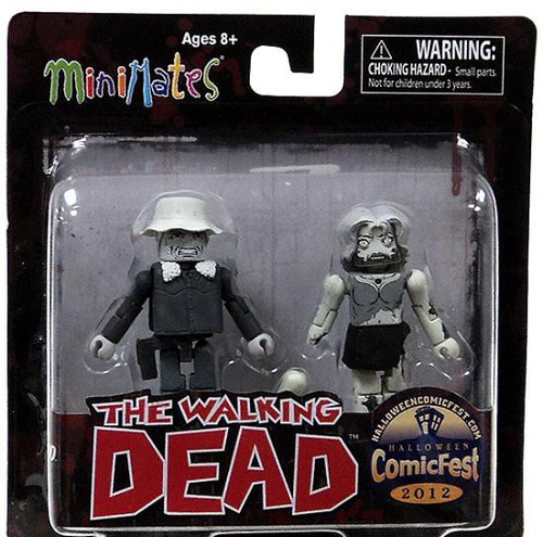 The Walking Dead Minimates Black & White Winter Coat Dale & Female Zombie Exclusive Minifigure 2-Pack
