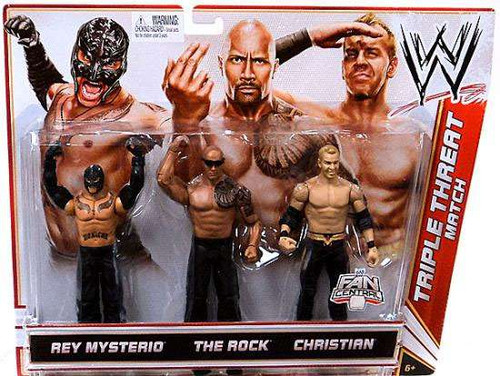 WWE Wrestling Rey Mysterio, Rock & Christian Exclusive Action Figure 3-Pack [Triple Threat Match]
