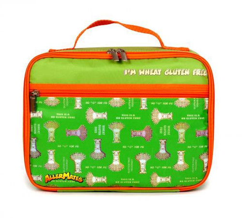 AllerMates I'm Wheat Gluten Free Lunch Bag [Green with Orange Trim]