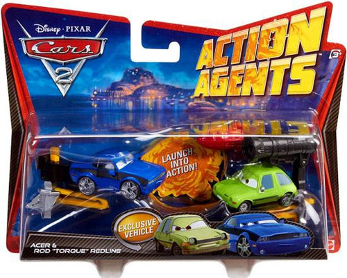 "Disney / Pixar Cars Cars 2 Action Agents Acer & Rod ""Torque"" Redline Plastic Car 2-Pack"