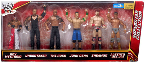 WWE Wrestling Mysterio, Undertaker, Rock, Cena, Sheamus & Del Rio Exclusive Action Figure 6-Pack