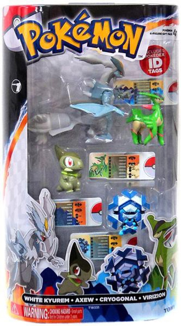 Pokemon Black & White Basic White Kyurem, Axew, Crygonal & Virizion Figure 4-Pack