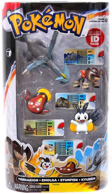 Pokemon Black & White Basic Terrakion, Emolga, Stunfisk & Kyurem Figure 4-Pack