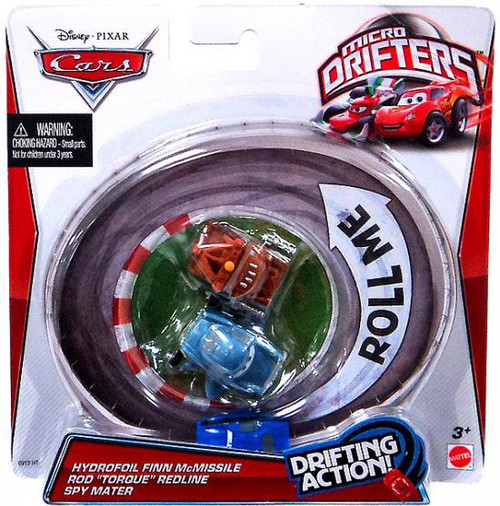 "Disney / Pixar Cars Micro Drifters Hydrofoil Finn McMissile, Rod ""Torque"" Redline & Spy Mater Mini Cars"
