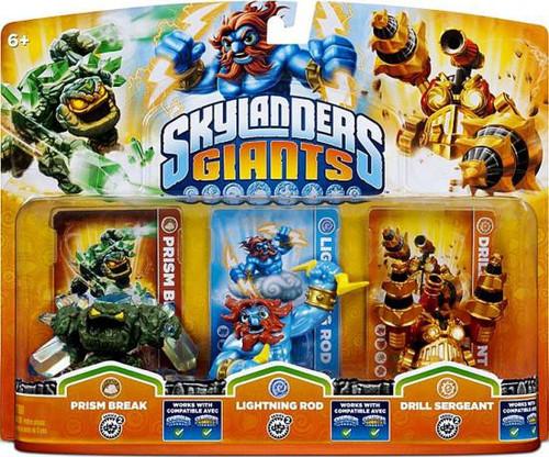 Skylanders Giants Prism Break, Lightning Rod & Drill Sergeant Figure 3-Pack