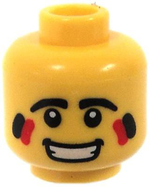 Open Smile, Black & Red Face Paint Minifigure Head [Yellow Male Loose]