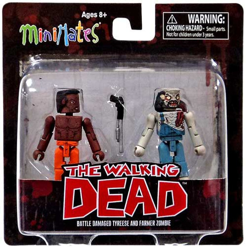 The Walking Dead Minimates Series 3 Battle-Damaged Tyreese & Farmer Zombie Minifigure 2-Pack