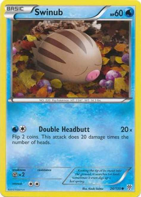 Pokemon Black & White Plasma Storm Common Swinub #26