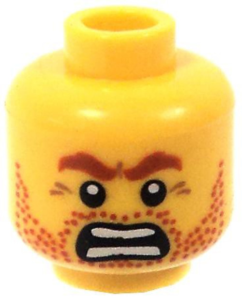 Red Stubble & Eyebrows Minifigure Head [Yellow Loose]