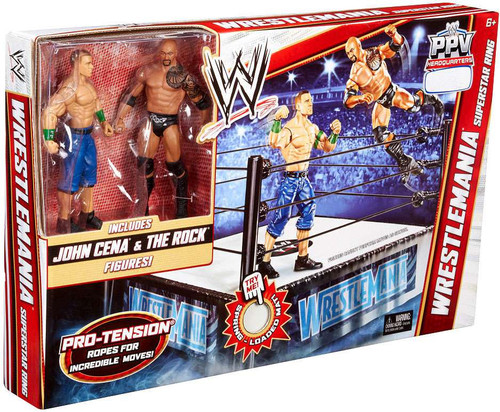 WWE Wrestling Playsets Wrestlemania Superstar Ring Exclusive Action Figure Playset [John Cena & The Rock]