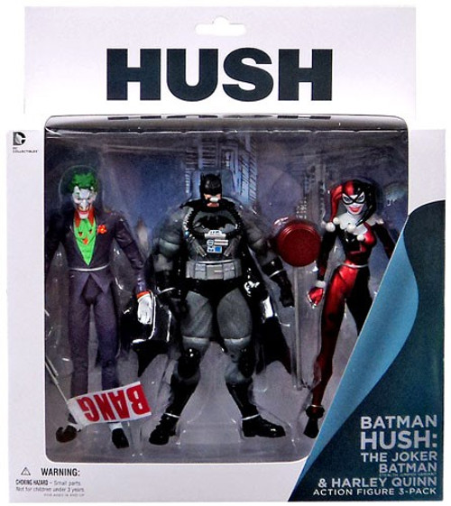 Hush Joker, Stealth Batman & Harley Quinn Action Figure 3-Pack