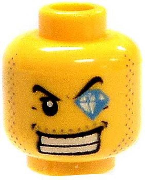 Stubble, Smile & Diamond Left Eye Minifigure Head [Yellow Loose]