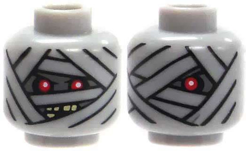 Light Gray Mummy with Red Eyes Minifigure Head [Dual-Sided Print Loose]