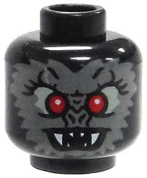 Black Bat Features with Red Eyes & Fangs Minifigure Head [Loose]