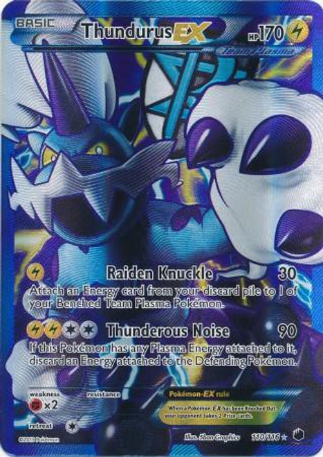 Pokemon Black & White Plasma Freeze Ultra Rare Full Art Thundurus EX #110