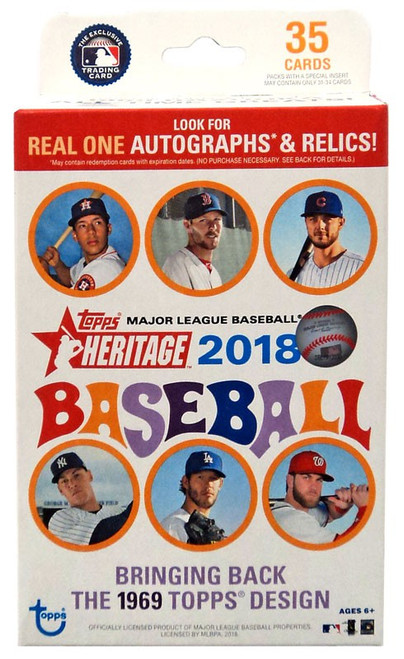 MLB Topps 2018 Heritage Baseball Trading Card HANGER Box [35 Cards]
