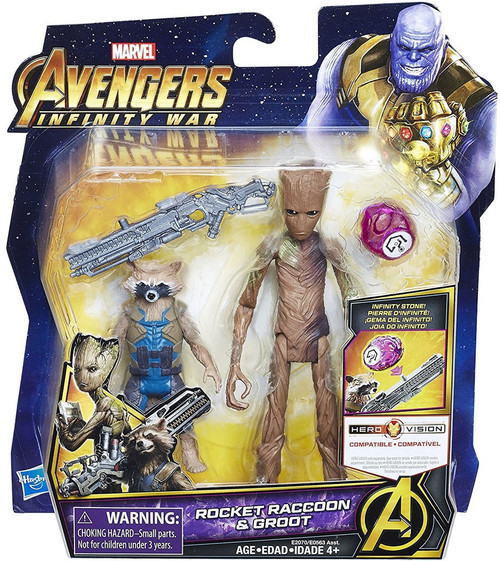 Marvel Avengers Infinity War Rocket Raccoon & Groot Deluxe Action Figure [with Stone]