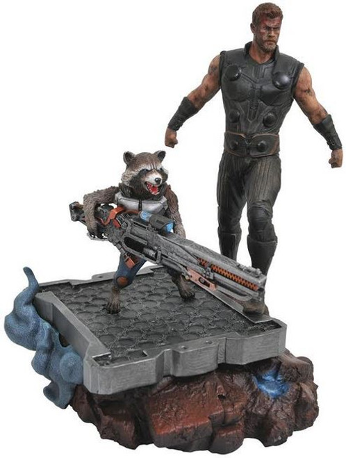 Avengers Infinity War Marvel Premier Collection Thor & Rocket Raccoon Collectible Resin Statue