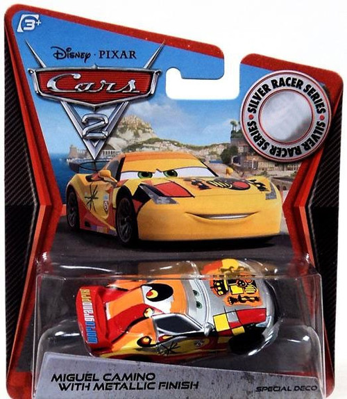 Disney / Pixar Cars Cars 2 Silver Racer Series Miguel Camino with Metallic Finish Exclusive Diecast Car