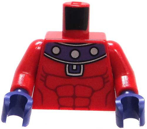 LEGO Red Muscular Torso with Purple Collar & Gloves Loose Torso [Magneto Loose]