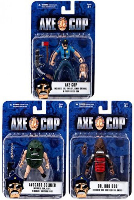 Axe Cop, Dr. Doo Doo & Avocado Soldier Set of 3 Action Figures