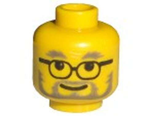 Glasses with Gray Eyebrows, Beard and Moustache Minifigure Head [Yellow Loose]